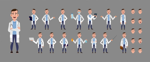 Young doctor cartoon character set