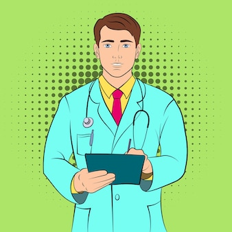 Предпосылка концепции молодого доктора. поп-арт иллюстрация концепции молодого врача для веб-сайтов