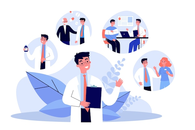 Young doctor and his work routine in hospital. pill, patient, nurse   illustration. occupation and medicine concept for banner, website  or landing web page
