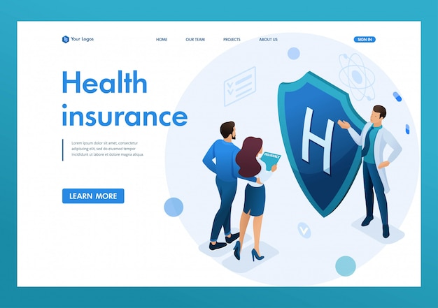 若い医者は、カップルに健康保険を提供しています。健康保険の概念。 3dアイソメトリック。リンク先ページの概念とwebデザイン