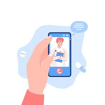 격리 된 휴대 전화 화면 평면 만화 벡터 일러스트 레이 션에 젊은 의사