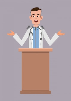 Young doctor speaker stands behind the podium and speaks.  flat style cartoon character