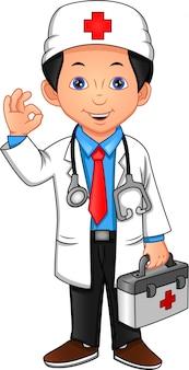 Молодой доктор машет