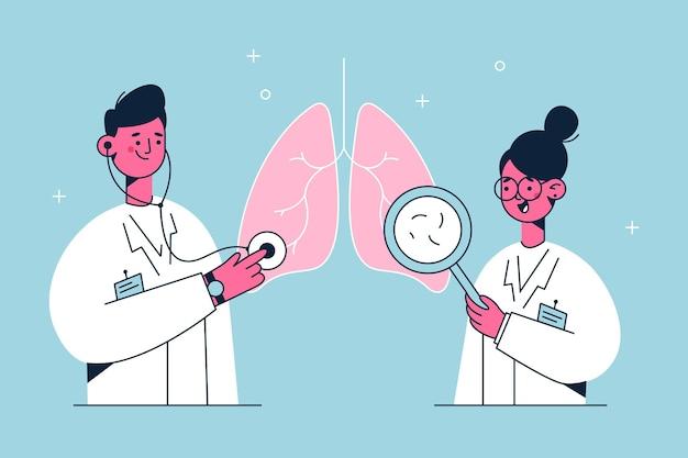 젊은 의사는 흰색 제복을 입은 만화 캐릭터가 폐 및 호흡기 질환, 질병 또는 문제를 검사하는 그림을 검사합니다.