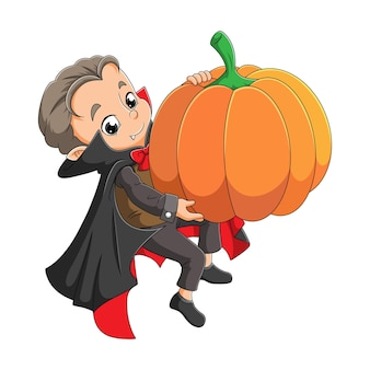 The young dracula is holding a big scary pumpkin of illustration