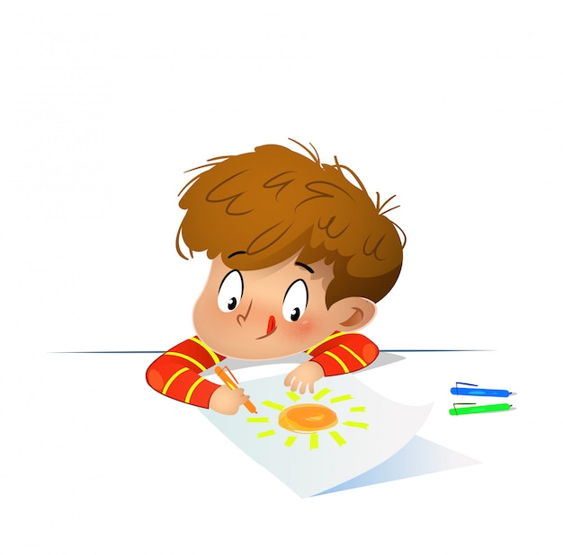 Young drawing with colored wax crayons