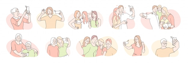 Young and elder people, selfie set concept