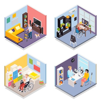Young and elderly disabled people isometric illustrations