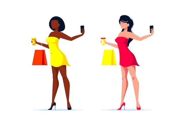 Молодая элегантная сексуальная черная или кавказская дама делает селфи со смартфоном, плоская иллюстрация искусства линии