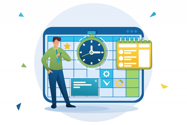 Young entrepreneur plans the time for business planning, fills the calendar for the month. flat character. concept for web design
