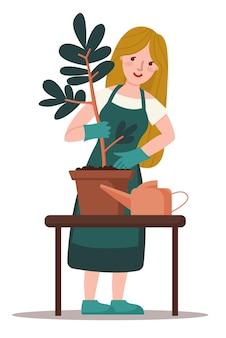 젊은 유럽 여성은 냄비에 작은 나무를 심습니다. 봄 개념, 자연 및 보살핌. 행복하고 봄과 여름 날을 즐기십시오. 흰색 배경에 고립 된 평면 스타일에서 다채로운 벡터 일러스트 레이 션.