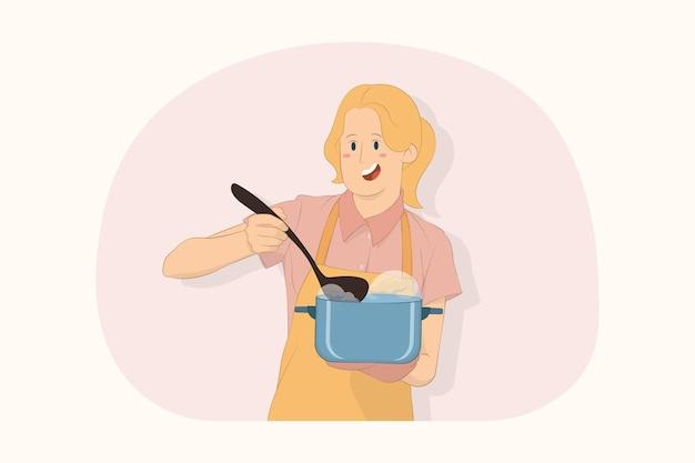국자 컨셉으로 수프 스테인리스 냄비를 들고 놀란 젊은 요리사 요리사 제빵사