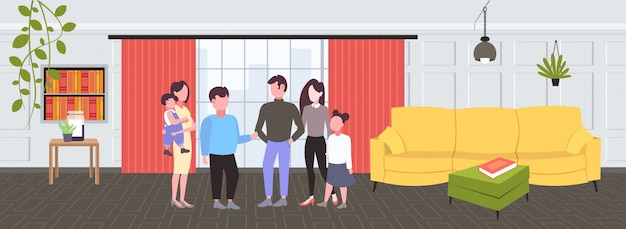 会議中に会話をしている子供を持つ若い家族現代のリビングルームのインテリアの男性と女性の漫画のキャラクターの水平全長を一緒に立っているカジュアルな人々