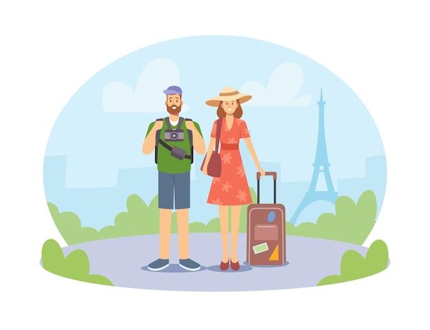 旅行中の若い家族のカップル、写真カメラとバッグを持って海外の男性と女性のキャラクター。夏の旅行、フランス旅行