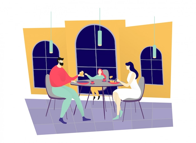 Young family dinner restaurant, character father mother and daughter sitting cozy cafe  on white,   illustration.