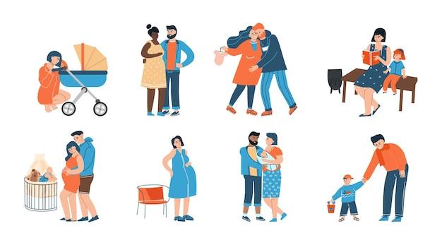 젊은 가족. 행복한 아버지, 어머니, 그리고 그들의 자식 만화 캐릭터, 임신 기간의 부모. 벡터 격리 된 그림 출산 및 출산, 자녀와 함께 커플
