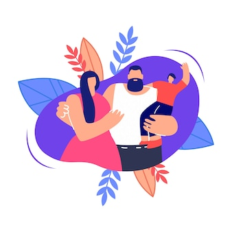 Young family hugging flat  illustration