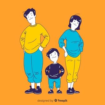 한국 그리기 스타일의 젊은 가족 일러스트