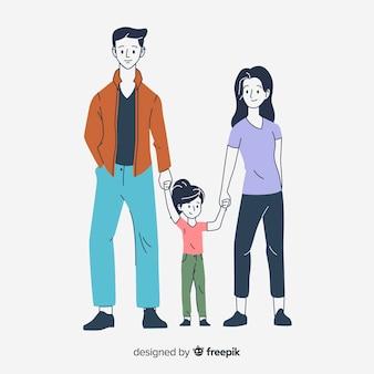 한국 그리기 스타일의 젊은 가족