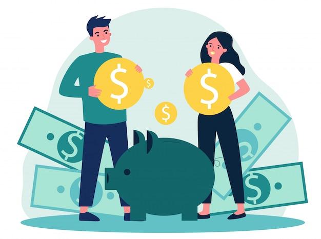 Молодая семья вкладывает деньги для будущей иллюстрации