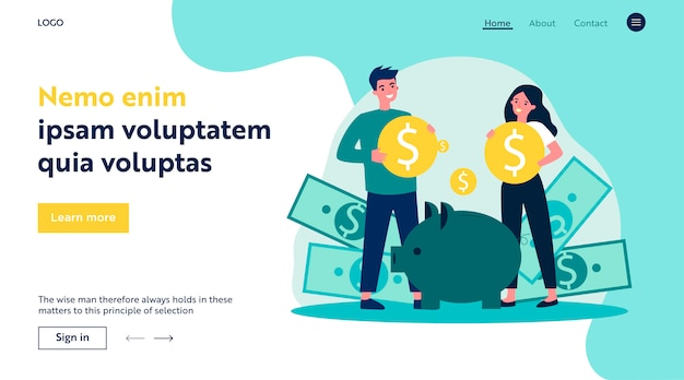 Young family investing money for future flat   illustration