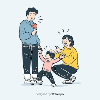 Young family in korean drawing style