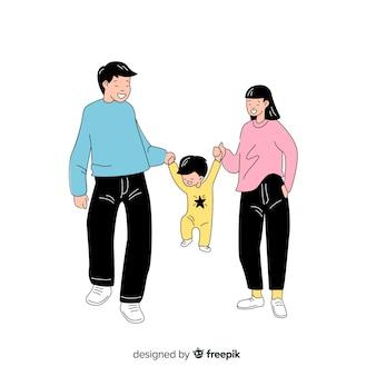 Giovane famiglia in stile coreano di disegno