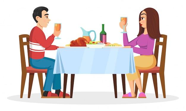 若い家族、ミレニアル世代、恋人の家でロマンチックなディナー。