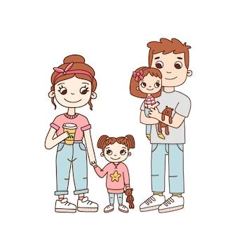若い家族のお母さんお父さんと漫画風の2人の娘