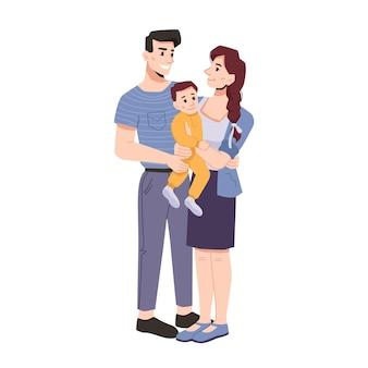 아버지 어머니와 유아 아이의 젊은 가족