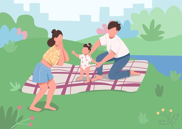 Молодой семейный пикник плоская цветная иллюстрация