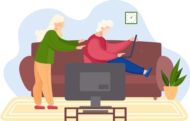 家でビデオゲームをしている若い家族。コンピューターとテレビのフラットなデザインでゲームをしている友人の男性と女性。家族の週末、人々はラップトップでソファに座って一緒に時間を過ごします