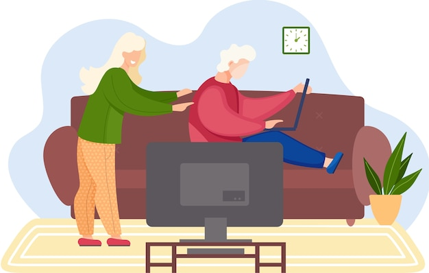 Young family playing video games at home. friends man and woman playing a game on a computer and televisor flat design. family weekend, people spend time together sitting on sofa with laptop