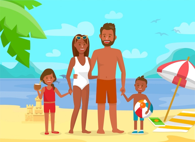 Young family on summer holidays flat illustration.