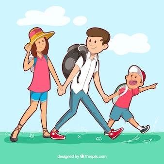 Молодая семья путешествует