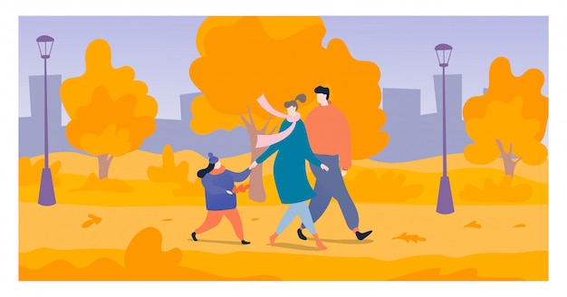 Young family walk national outdoor park, cheerful mother father and daughter stroll autumn garden   illustration.