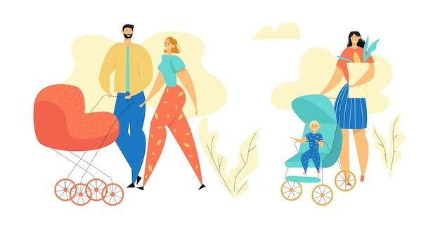 公園を歩いている若い家族。ベビーカーを持つ親。生まれたばかりの子供とママとパパ。乳母車で幸せな母と父。