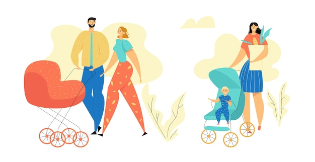 Young family walking in the park. parents with baby stroller. mom and dad with newborn child. happy mother and father with pram. Premium Vector
