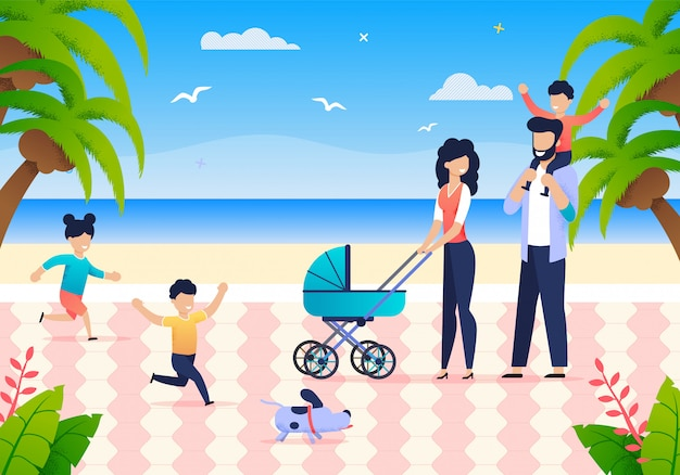 Young family with children enjoy summer vacation