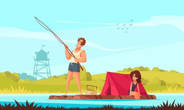 Young family with fishing rod and tent on floating wooden raft funny cartoon composition illustration