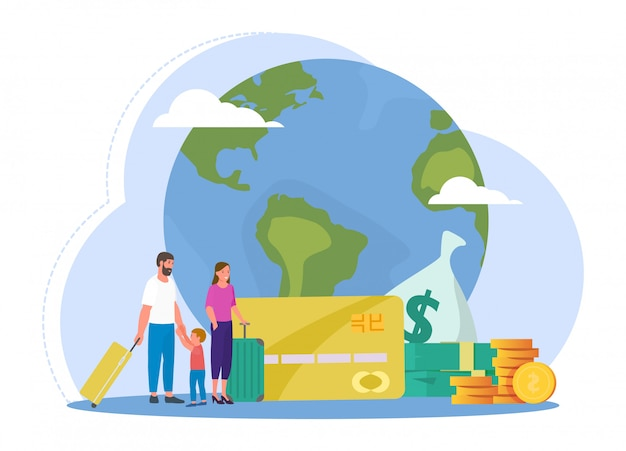 Young family with suitcase travel around global earth, stack gold coin, money trip, isolated on white, flat vector illustration.
