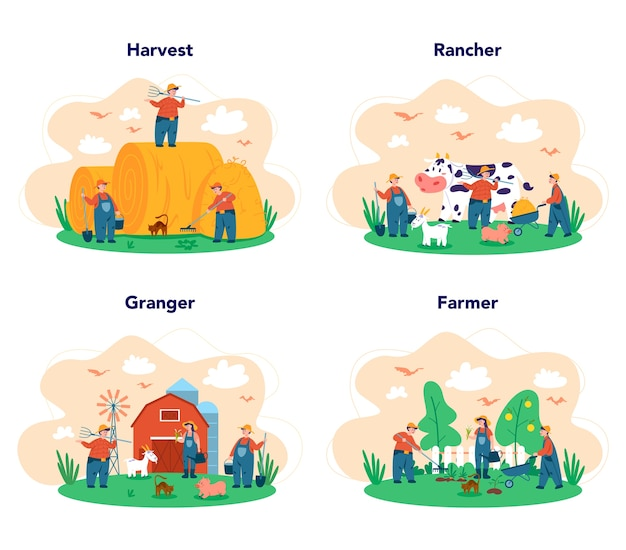 Young farmers team working web set on white background