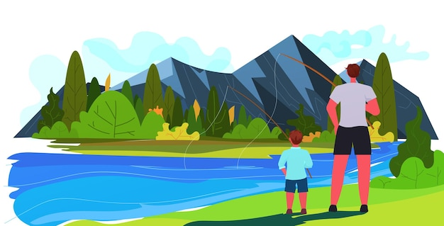 젊은 아버지와 아들 가로 아이 풍경 배경으로 시간을 보내는 호수 육아 아버지 개념 아빠에 막대와 낚시