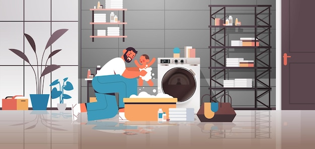 Young father bathing little son in small bath tub fatherhood parenting concept dad spending time with baby at home bathroom interior full length horizontal vector illustration