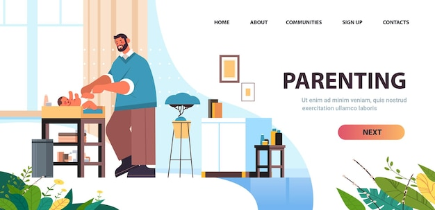 Young father changing diaper to his little son fatherhood parenting concept dad spending time with baby at home living room interior full length horizontal copy space vector illustration