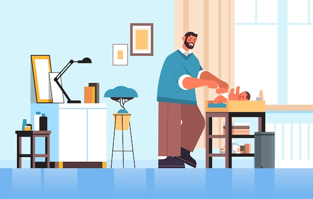 Young father changing diaper to his little son fatherhood parenting concept dad spending time with his baby at home living room interior full length horizontal vector illustration