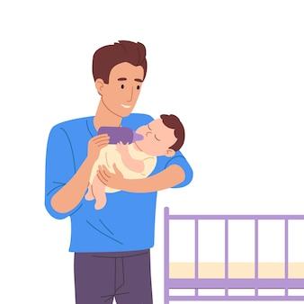 若い父親は哺乳瓶から赤ちゃんを養います