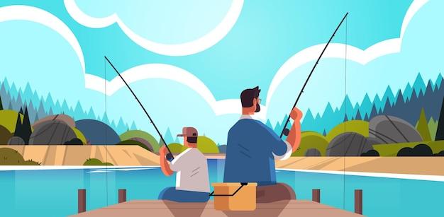 호수에서 물고기를 잡는 그의 아이를 가르치는 아들 육아 아버지 개념 아빠와 낚시 젊은 아버지 아름다운 자연 풍경 배경 전체 길이 가로 벡터 일러스트 레이 션