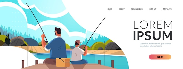 Young father fishing with son parenting fatherhood concept dad teaching his kid catching fish at lake nature landscape background full length horizontal copy space vector illustration