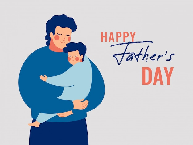 Young father holds his son with care and love. happy fathers day concept with daddy and small boy